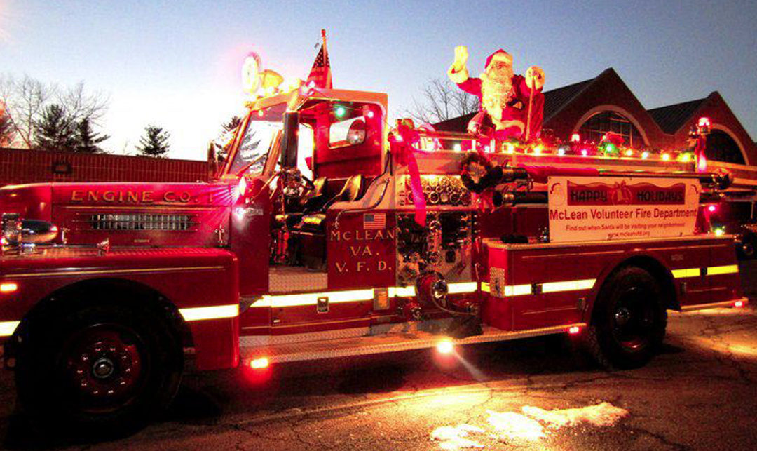 Santa on the Antique Fire Engine